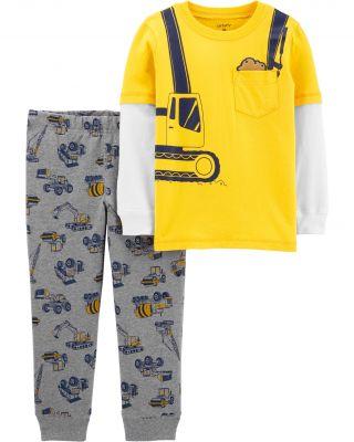 CARTER'S Set 2dílný tričko, kalhoty Construction chlapec 9 m/vel. 74
