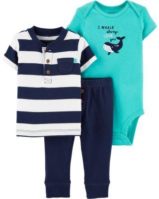 CARTER'S Set 3dílný body, tričko krátký rukáv, kalhoty Whale chlapec LBB 9 m/vel. 74