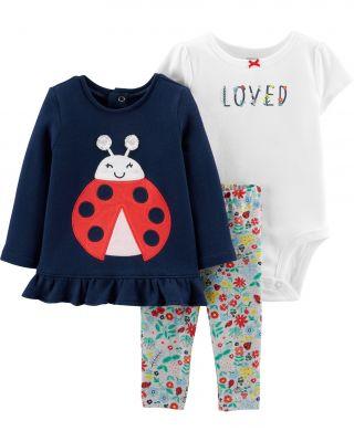 CARTER'S Set 3dílný body, tričko, legíny Ladybug dívka 3 m/vel. 62