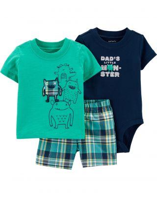 CARTER'S Set 3dílný body krátký rukáv, tričko krátký rukáv, kalhoty krátké Monsters chlapec 6 m/vel.