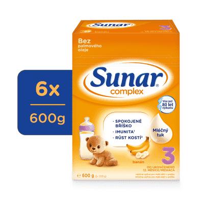 6x SUNAR Complex 3 banán, 600 g