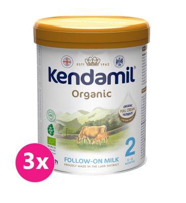 3x KENDAMIL Pokračovací BIO/organické mléko 2 (800 g) DHA+