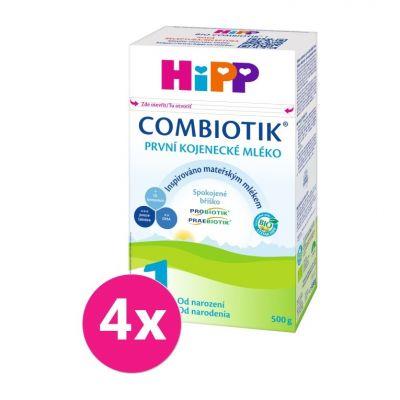 4x HiPP 1 BIO Combiotik - počáteční mléčná kojenecká výživa, 500 g