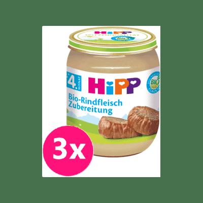 3x HiPP BIO Hovězí maso od ukončeného 4. měsíce, 125 g