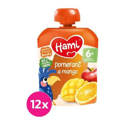 12x HAMI XXL ovocná kapsička Pomeranč a mango 90 g, 6+