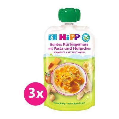3x HiPP BIO Zelenina, dýně, těstoviny, kuřecí maso od uk. 5. měsíce, 130 g
