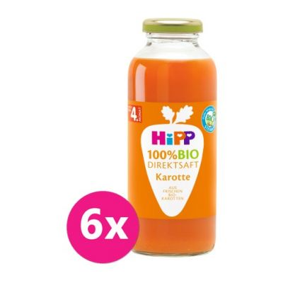 6x HiPP 100 % Bio Juice Karotková šťáva