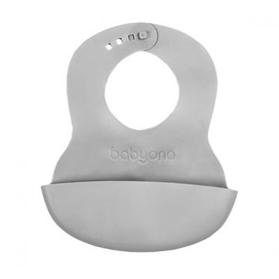 BABYONO Bryndák měkký plastový s kapsou bez BPA šedý 6 m+