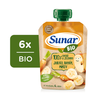 6x SUNAR BIO kapsička Jablko, banán, mrkev 100 g