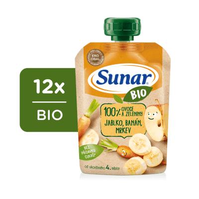 12x SUNAR BIO kapsička Jablko, banán, mrkev 100 g