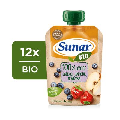 12x SUNAR BIO kapsička Jablko, jahoda, borůvka 100 g