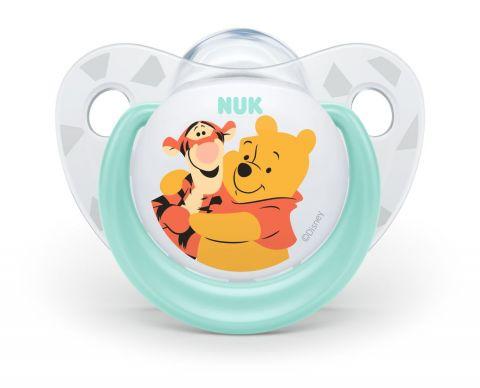 NUK Dudlík Disney - Medvídek Pú, silikon, V1 (0-6 m.) tyrkysový + box