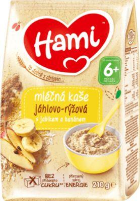 HAMI Mléčná kaše jáhlovo-rýžová s jablkem a banánem 210 g, 6+