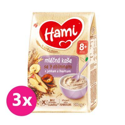 3x HAMI Kaše mléčná se 7 obilninami s jablkem a švestkami 210 g, 8+
