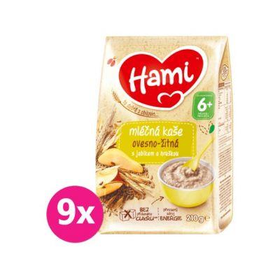 9x HAMI Mléčná kaše ovesno-žitná s jablkem a hruškou 210 g, 6+