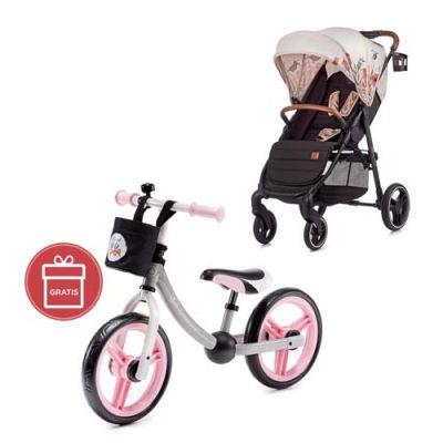 KINDERKRAFT Kočík športový Grande LX Bird Kinderkraft + Dětské odrážedlo 2way Next Light pink