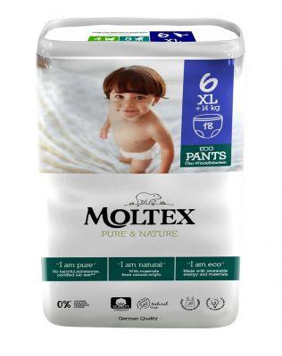 MOLTEX Pure & Nature natahovací plenkové kalhotky XL +14 kg (18 ks)