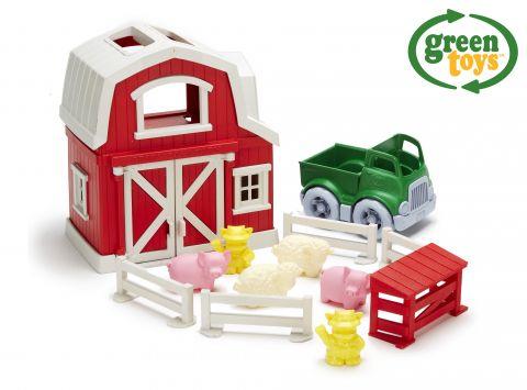 GREEN TOYS Farma s domečkem, autíčkem a zvířátky