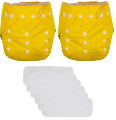 PETITE&MARS Kalhotky plenkové Diappy Yellow 2 kusy a Gmini vkládací pleny