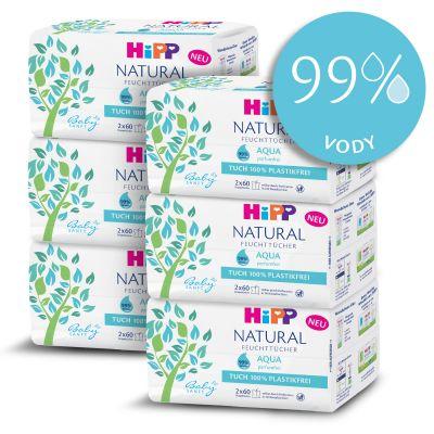 6x HiPP Babysanft Čistící vlhčené ubrousky Aqua Natural 2x60 ks