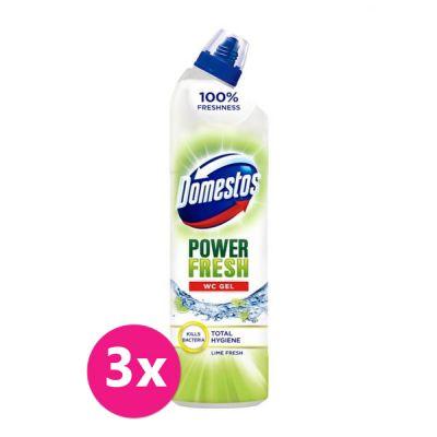 3x DOMESTOS Total Hygiene Lime Fresh WC gel 700 ml