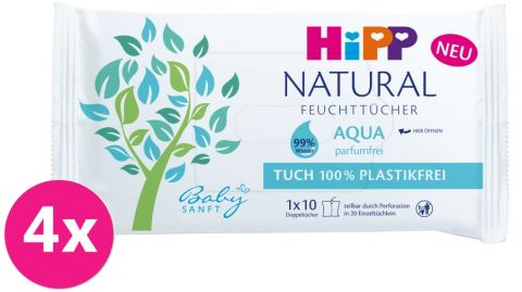 4x HiPP Babysanft Čistící vlhčené ubrousky Aqua Natural 10 ks