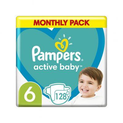 PAMPERS Active Baby 6 (13-18 kg) 128 ks Extra Large - jednorázové pleny