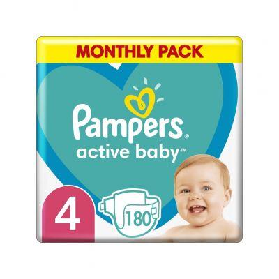 PAMPERS Active Baby 4 (9-14 kg) 180 ks Maxi měsíční balení - jednorázové plienky