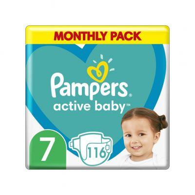 PAMPERS Active Baby 7 (15 kg+) 116 ks měsíční balení - jednorázové pleny