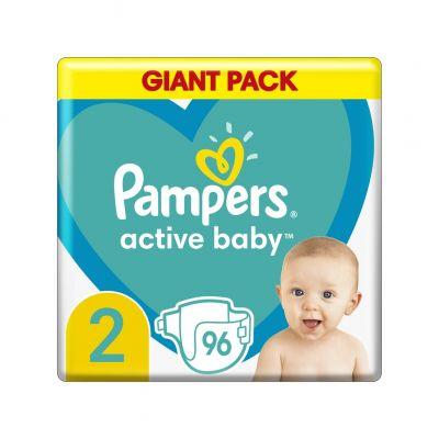 PAMPERS Active Baby 2 (4-8 kg) 96 ks - jednorázové plienky