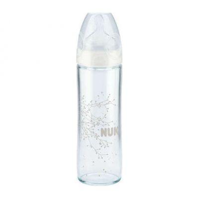 NUK New classic láhev Love sklo 240 ml, silikon - bílá