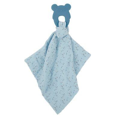 NATTOU Kousátko silikonové bez BPA s bavlněnou dečkou 28 x 28 cm blue
