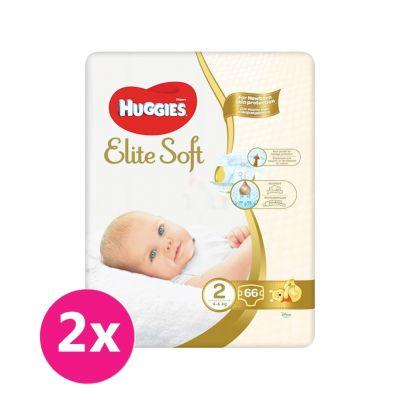 2x HUGGIES Jednorázové plienky Elite Soft veľ. 2, 66 ks