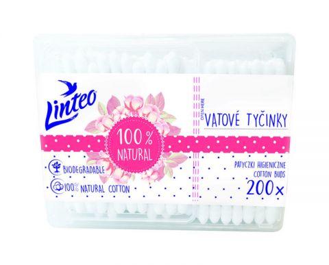 LINTEO Vatové papírové tyčinky 200 ks v boxu
