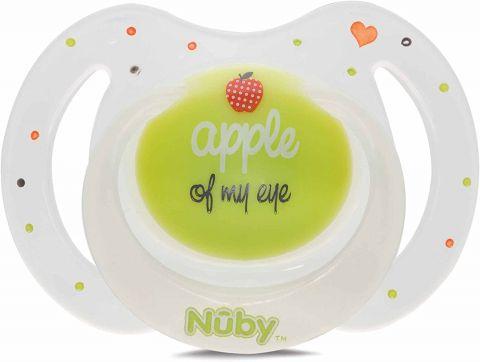 NUBY Dudlík silikonový oválný noční zeleno bílý 0-6 m