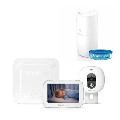 ANGELCARE AC527 Monitor pohybu dechu a el. video chůvička + koš na pleny Classic + 1 kazeta