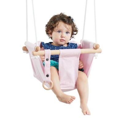 DVĚ DĚTI Dětská textilní houpačka 100% bavlna růžová