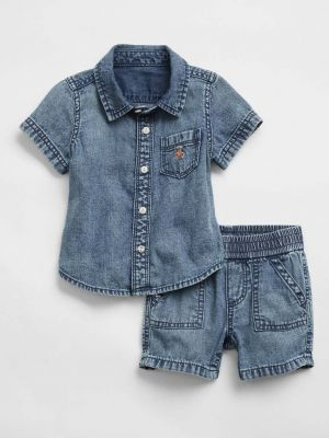GAP Set 2dílný košile kr. rukáv, kalhoty kr. Denim Bear chlapec 12-18m