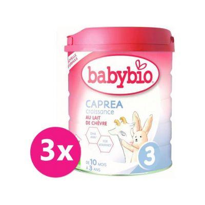 3x BABYBIO CAPREA 3 Croissance plnotučné kozí kojenecké bio mléko 800 g