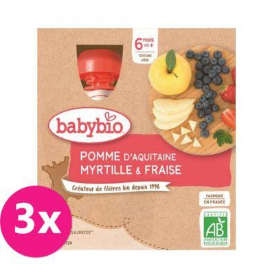 3x BABYBIO Kapsička jablko borůvky jahody - ovocný příkrm (4x90 g)