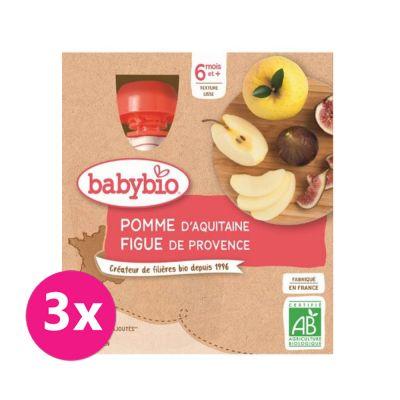 3x BABYBIO Jablko fík 4x90 g – ovocný příkrm