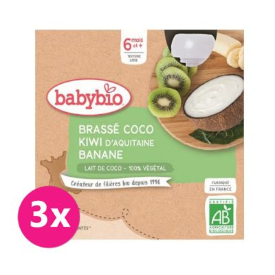 3x BABYBIO Svačinka s kokosovým mlékem - kiwi a banán 4x85 g