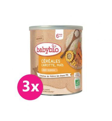 3x BABYBIO Zeleninová nemléčná kaše s mrkví a kukuřicí 220 g