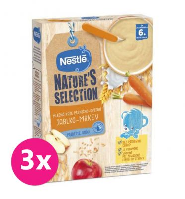 3x NESTLÉ Nature's Selection mléčná obilná kaše jablko, mrkev 250 g