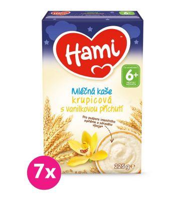 7x HAMI Mléčná kaše krupicová vanilková na dobrou noc 225 g