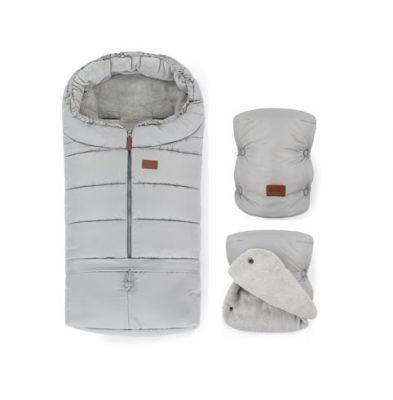 PETITE&MARS Zimný set fusak Jibot 3v1 + rukavice na kočík Jasie Steel Grey