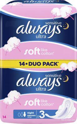 ALWAYS Ultra DUO Night Sensitive (14ks) – dámské vložky