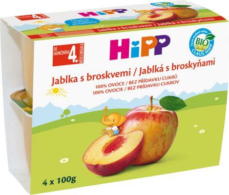 HiPP BIO Jablká s broskyňami (4x 100 g) - ovocný príkrm