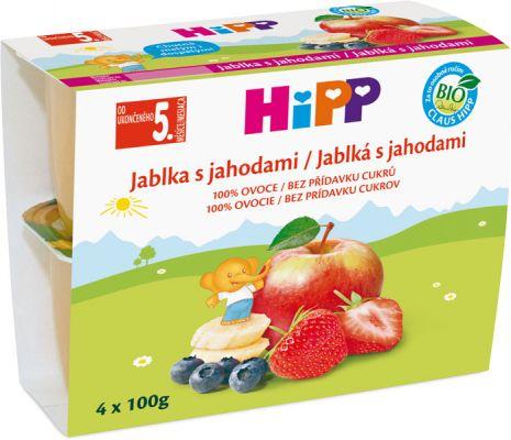 HiPP BIO Jablká s jahodami (4x 100 g) - ovocný príkrm