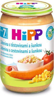 HIPP BIO Zelenina s cestovinami a so šunkou 220 g - mäsovo-zeleninový príkrm